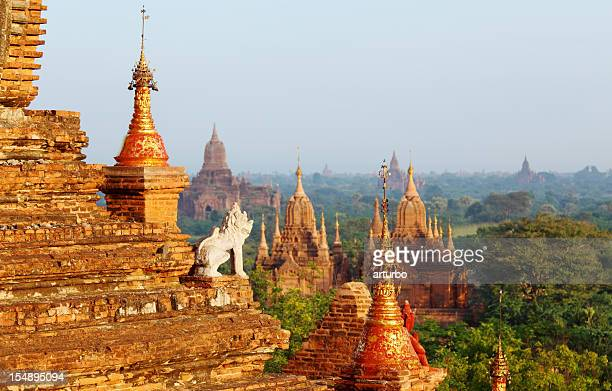 guard statue and Bagan temple field