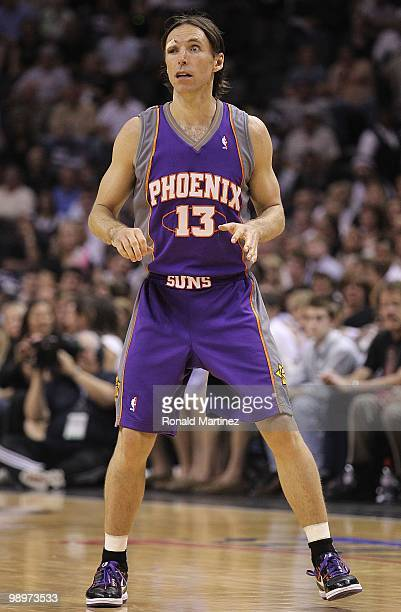Guard Steve Nash of the Phoenix Suns after receiving six stitches to his eye against the San Antonio Spurs in Game Four of the Western Conference...