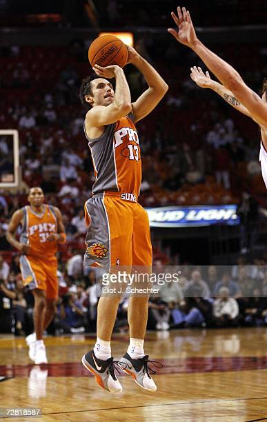 Guard Steve Nash of the Phoenix Suns shoots against the Miami Heat on December 13 2006 at the American Airlines Arena in Miami Florida NOTE TO USER...