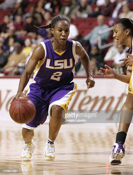 LSU guard Temeka Johnson had 6 points and 5 assists during a LSU Tigers victory over the Temple Owls 65 to 51 at the Liacouras Center in Philadelphia...
