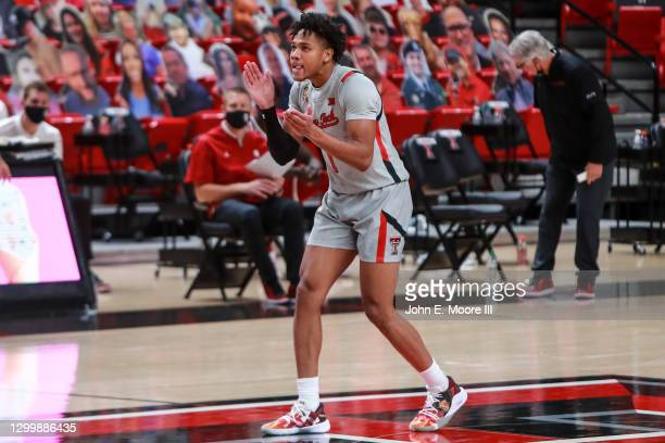 Guard Terrence Shannon of the Texas Tech Red Raiders reacts after making a three-pointer during the second half of the college basketball game...