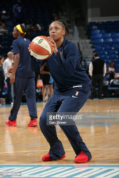 guard Diamond DeShields of the Chicago Sky handles the ball during the game against the Indiana Fever on August 19 2018 at the Wintrust Arena in...