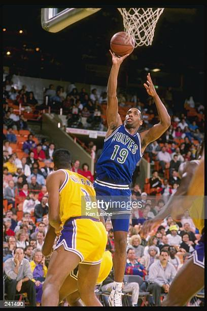 Guard Tony Campbell of the Minnesota Timberwolves goes up for two during a game against the Los Angeles Lakers at the Great Western Forum in...