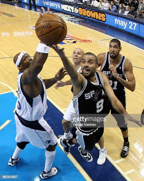 Guard Tony Parker of the San Antonio Spurs takes a shot against Erick Dampier of the Dallas Mavericks in Game Four of the Western Conference...