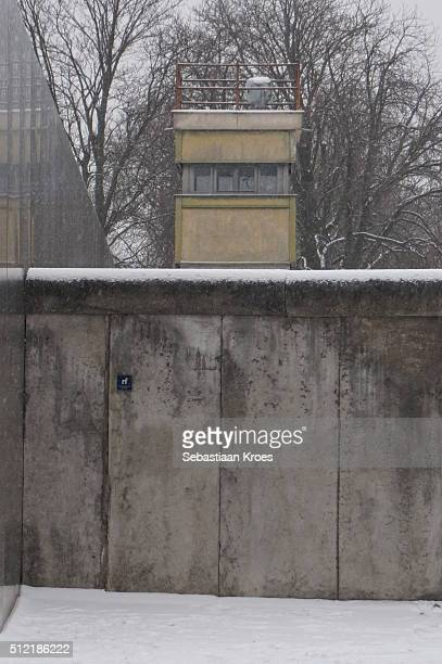 Guard Tower above the Berlin Wall, Snow, Berlin, Germany