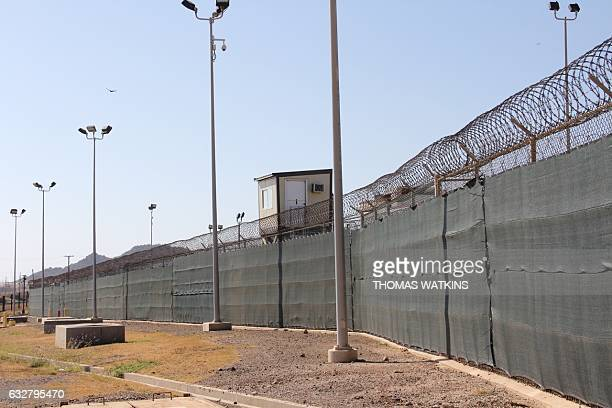 Guard tower is seen outside the fencing of Camp 5 at the US Military's Prison in Guantanamo Bay, Cuba on January 26, 2017. President Donald Trump has...