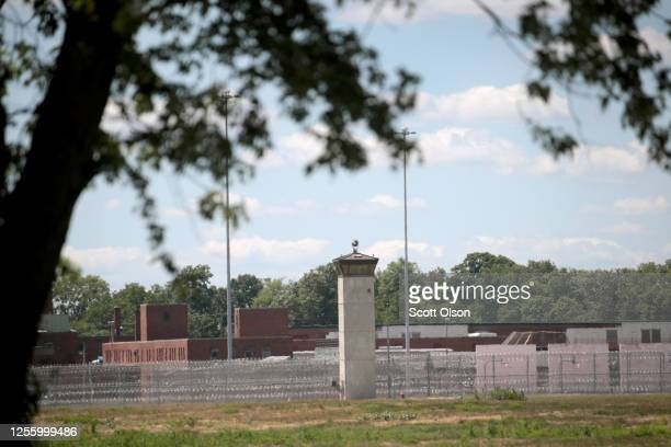 A guard tower sits along a security fence at the Federal Correctional Complex where Daniel Lewis Lee is scheduled to be executed on July 13 2020 in...