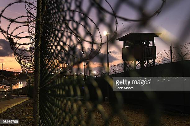 A guard tower stands at the perimeter of Camp Delta in the Guantanamo Bay detention center on March 30 2010 in Guantanamo Bay Cuba US President...