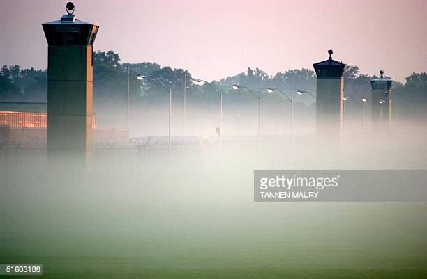 Guard towers surrounding the Federal Prison in Terre Haute Indiana where Oklahoma City Federal Building bomber Timothy McVeigh awaits execution rise...