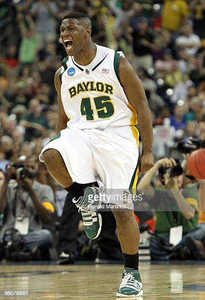 Guard Tweety Carter of the Baylor Bears reacts during play against the St Mary's Gaels during the south regional semifinal of the 2010 NCAA men's...