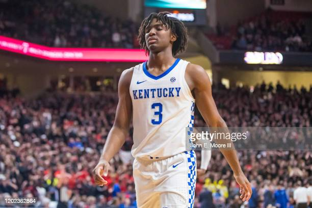 Guard Tyrese Maxey of the Kentucky Wildcats walks down the court during the second half of the college basketball game against the Texas Tech Red...
