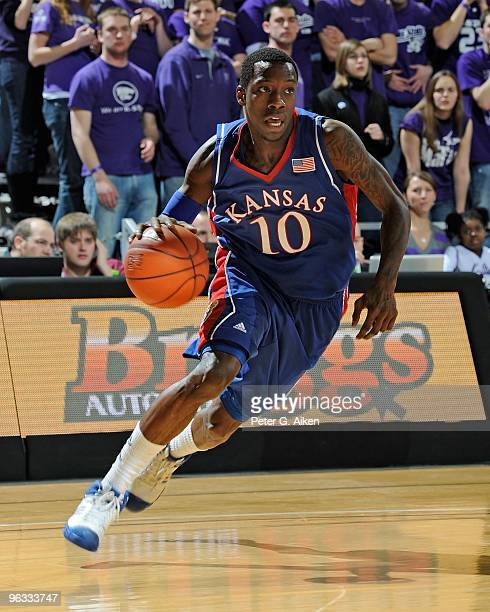 Guard Tyshawn Taylor of the Kansas Jayhawks drives along the baseline in the first half against the Kansas State Wildcats on January 30 2010 at...