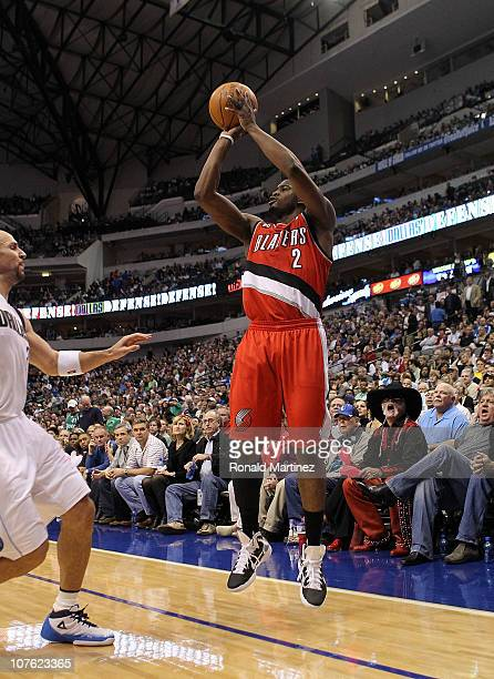 Guard Wesley Matthews of the Portland Trail Blazers takes a shot against the Dallas Mavericks at American Airlines Center on December 15 2010 in...