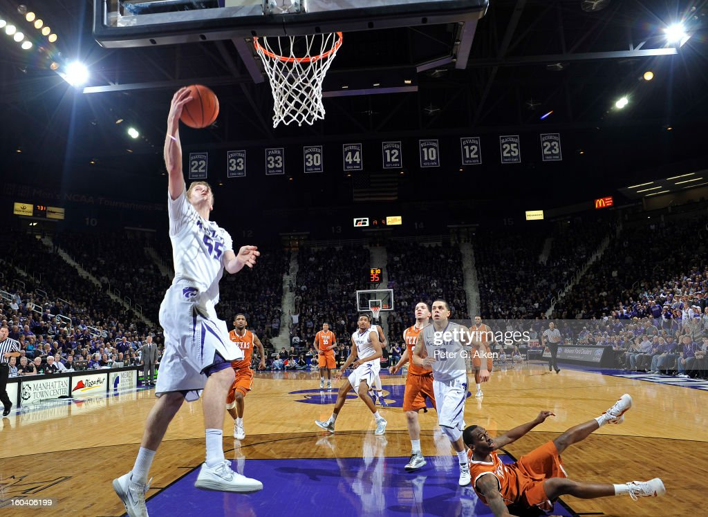 Guard Will Spradling #55 of the Kansas State Wildcats drives in for a basket against the Texas Longhorns during the first half on January 30, 2013 at Bramlage Coliseum in Manhattan, Kansas. Kansas State defeated Texas 83-57.