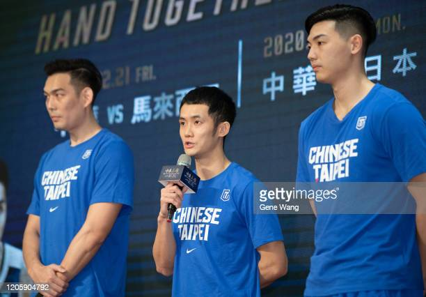 Guard Yu an Chiang attends the Chinese Taipei Basketball national team press conference ahead of the FIBA Asia Cup 2021 qualifiers on February 13...