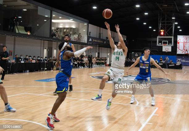 Guard YuAn Chiang attempt to shoot during the SBL Finals Game One between Taiwan Beer and Yulon Luxgen Dinos at Hao Yu Trainning Center on April 21...