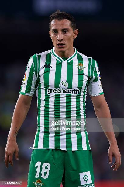 Guardado of Real Betis looks on during the La Liga match between Real Betis Balompie and Levante UD at Estadio Benito Villamarin on August 17 2018 in...