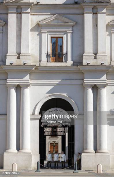 Guarded entrance to the presidential palace La Moneda in Santiago de Chile capital of Chile on October 15 2017 in Santiago de Chile Chile