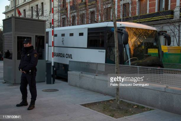 Guardia Civil bus for prisoners allegedly carrying jailed Catalan separatist leaders arrives at the Supreme Court during the trial of Catalan...