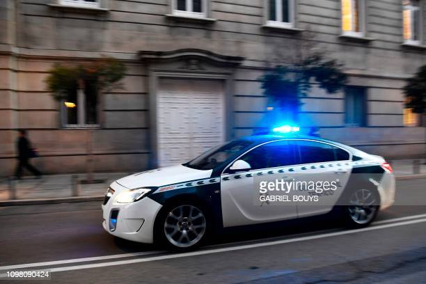 A Guardia Civil car arrives at the Supreme Court in Madrid on February 12 2019 Twelve former Catalan leaders go on trial at Spain's Supreme Court for...
