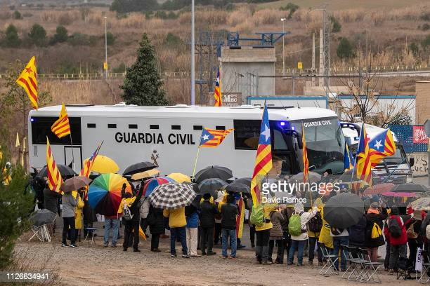 Guardia Civil convoy transfers nine Catalan separatist leaders from Brians 2 prison to two prisons in Madrid on February 01 2019 in Barcelona Spain...