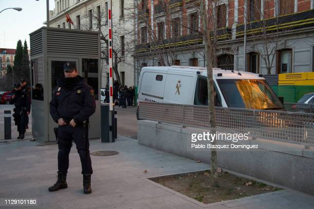 Guardia Civil van for prisoners allegedly carrying jailed Catalan separatist leaders arrives at the Supreme Court during the trial of Catalan...