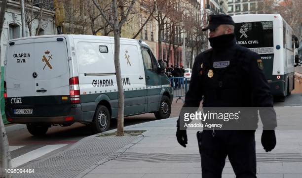 Guardia Civil vehicle reportedly carrying some jailed Catalan leaders arrives at the Supreme Court in Madrid Spain on February 12 2019 Twelve former...