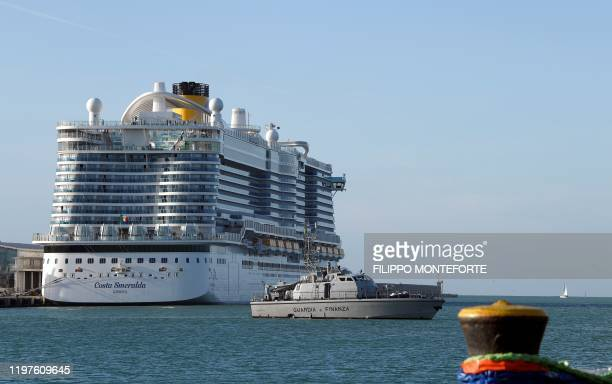 A Guardia di Finanza boat patrol around the Costa Smeralda cruise ship docked in the Civitavecchia port 70km north of Rome on January 30 2020 More...