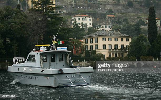 A 'Guardia di Finanza' boat patrols near George Clooney's Italian home Villa Oleandra at Lake Como's southwestern shores in Laglio just 5 Kms from...