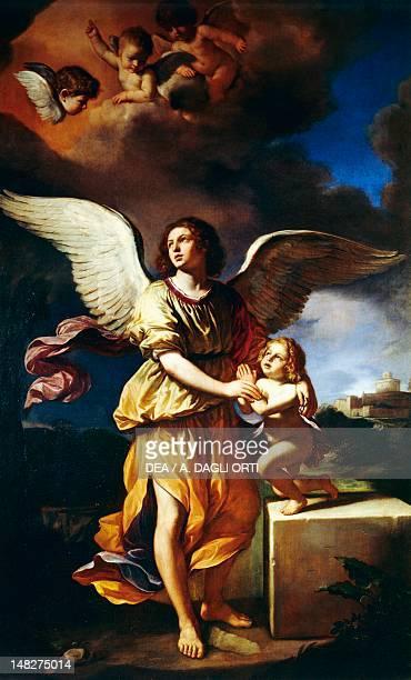 Guardian angel by Guercino oil on canvas 292x178 cm Fano Museo E Pinacoteca Civica Del Palazzo Malatestiano