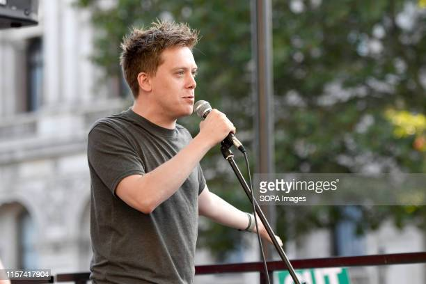 Guardian columnist Owen Jones speaks at the anti Boris Johnson election rally in London Protesters gathered outside Downing Street to protest against...