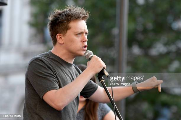 Guardian columnist, Owen Jones speaks at the anti Boris Johnson election rally in London. Protesters gathered outside Downing Street to protest...