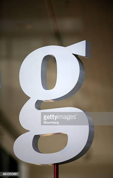 A Guardian newspaper company logo stands on display in the window of the Kings Place office development which houses the editorial offices of the...