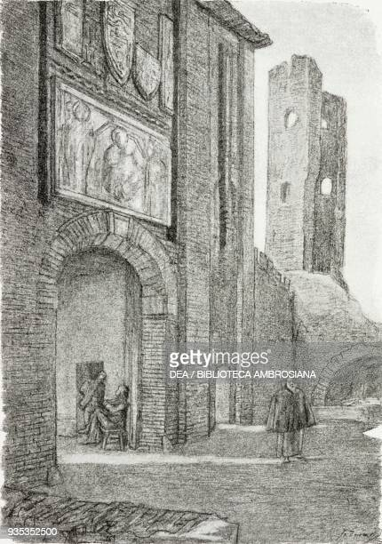 Guardian of the Capuchins at the village gate where the convent of the Nun of Monza was located, illustration by Gaetano Previati , from The...