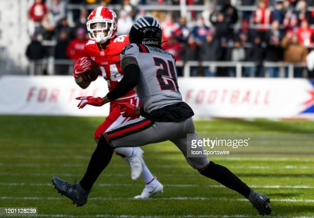 Guardians cornerback Jamar Summers moves in to bring down DC Defenders running back Donnel Pumphrey in the first half on February 15 at Audi Field in...