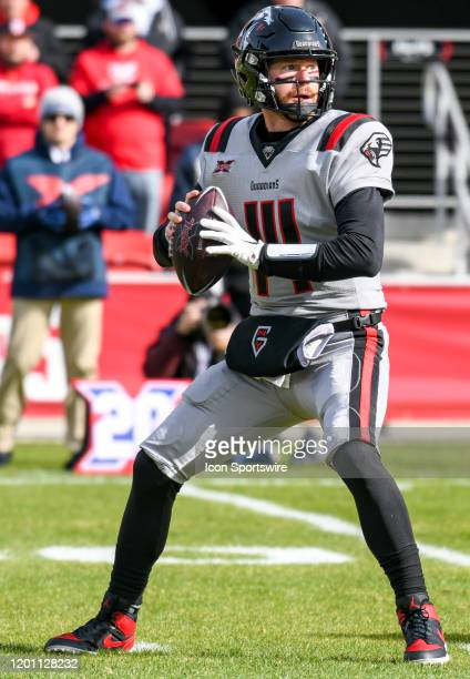 Guardians quarterback Matt McGloin drops back to pass in the first half against the DC Defenders on February 15 at Audi Field in Washington DC