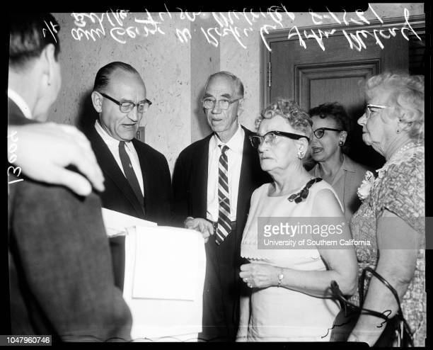 Guardianship 15 August 1961 Bertha Tyson Metcalf 76 yearsJohn N Metcalf 89 yearsAttorney George W RochesterCaption slip reads 'Photographer Mitchell...