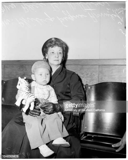 Guardianship 25 March 1953 Phillip Eugene Arnold 21 monthsMrs Alice B Walters Caption slip reads 'Photographer Mitchell Date Reporter Keating...