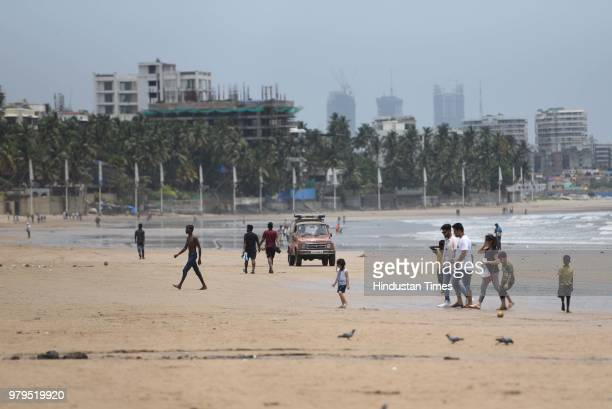 Guards appeal to public to avoid going to deep in the sea as a precautionary measure as yesterday one died in Juhu Chowpatty on June 19 2018 in...