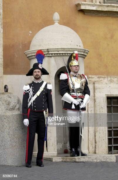 Guards At The Quirinale Palace In Rome For The Queen's Visit