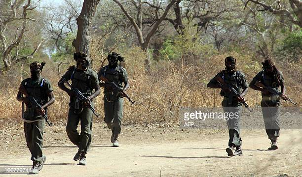 Guards exercice during a parade on April 5 2013 in Zakouma National Park 800 kms east of N'Djamena in Chad 90 percent of the elephants of the park...