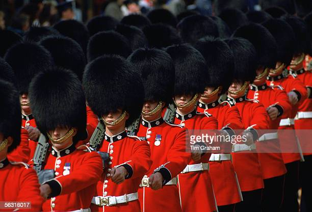 Guards in bearskins march in Windsor England