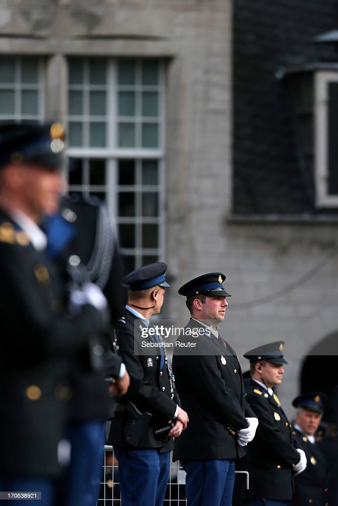 Guards in front of the royal palace during the celebrations for the inauguration of King Willem Alexander of the Netherlands as Queen Beatrix of the Netherlands abdicates on April 30, 2013 in Amsterdam, Netherlands.