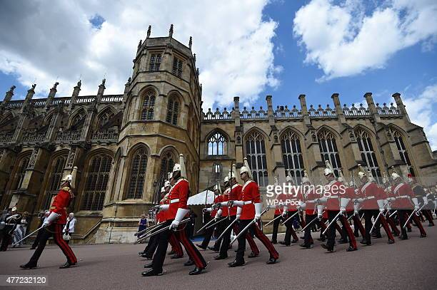 Guards march during the annual Order of the Garter Service at St George's Chapel in Windsor Castle on June 15 2015 in Windsor England The Order of...