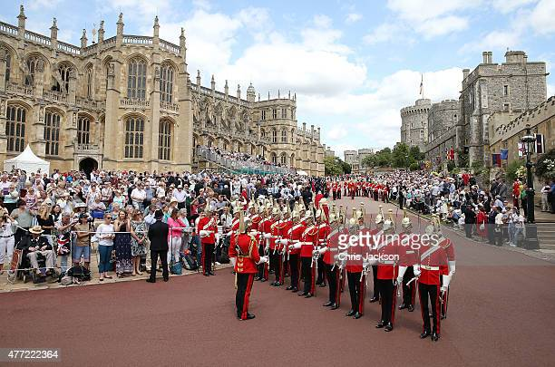 Guards march in preparation for the Order of the Garter service at St George's Chapel in Windsor Castle on June 15, 2015 in Windsor, England.