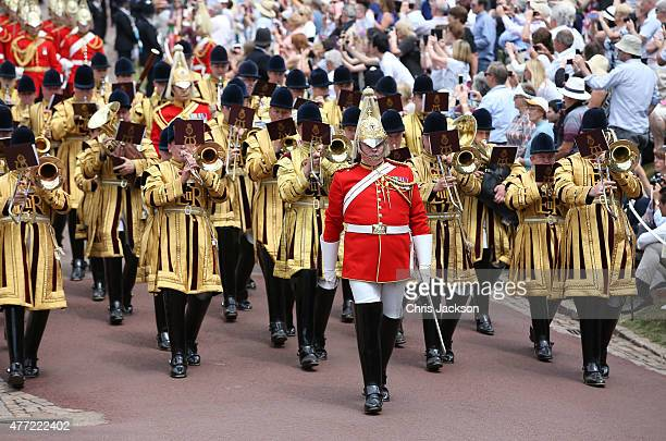 Guards march in preparation for the Order of the Garter service at St George's Chapel in Windsor Castle on June 15 2015 in Windsor England