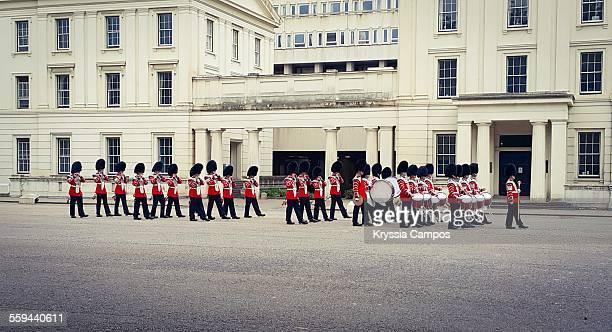 Guards Marching band at Buckingham Palace London UK