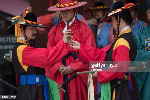 Guards of Deoksugung Palace perform changing of the guard ceremony for tourists on October 13 2017 Despite recent tensions between South Korea and...