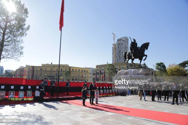 Guards of honor take part in a ceremony held for National Albanian Flag Day and the anniversary of Albania's Independence at Skanderbeg Square in...