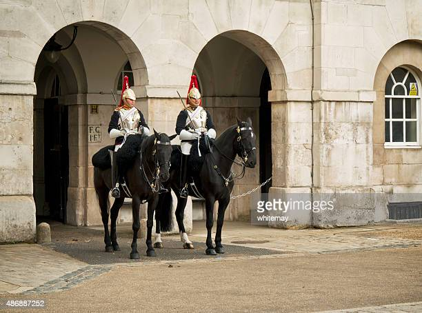 guards on horseback, horse guards parade - horse guards parade stock pictures, royalty-free photos & images